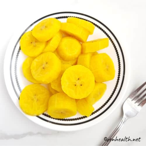 Plated boiled plantain