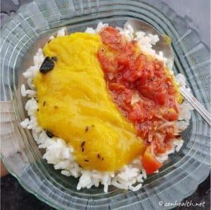 dhal, rice and tomato choka