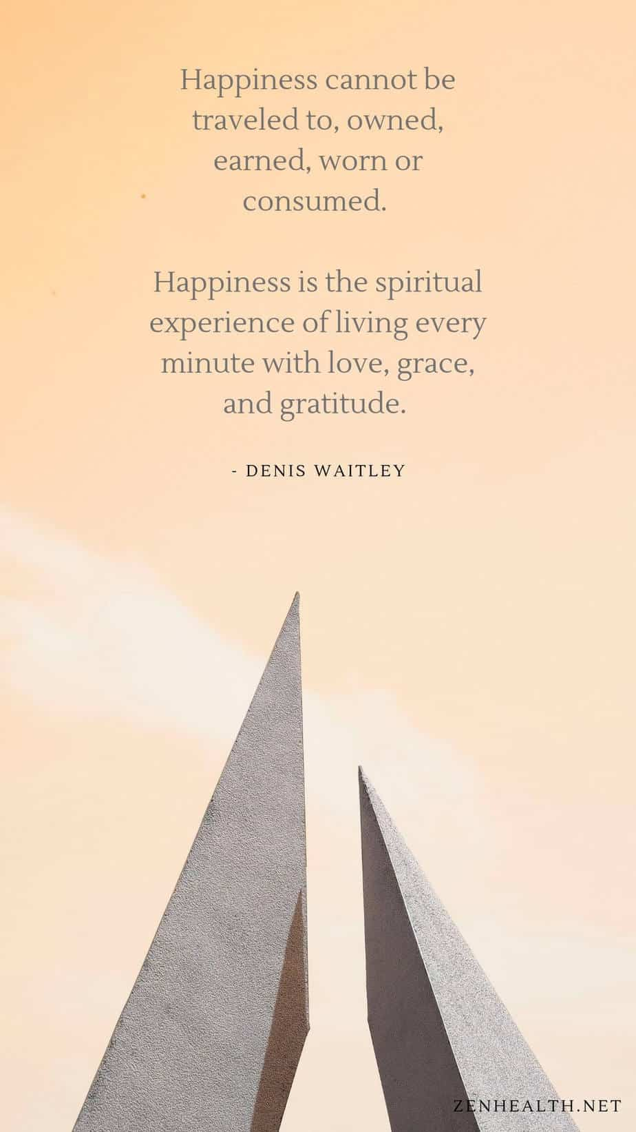 Happiness cannot be traveled to, owned, earned, worn or consumed. Happiness is the spiritual experience of living every minute with love, grace, and gratitude. - Denis Waitley