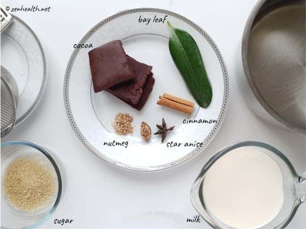 Ingredients for cocoa tea