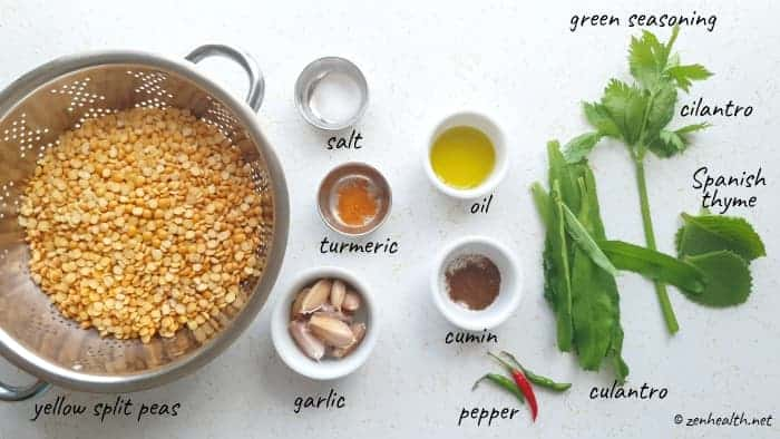 ingredients for making dhal for dhalpuri