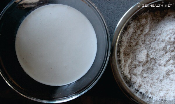 Coconut meat and milk after juicing