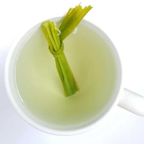 Lemongrass tea with stalk in teacup