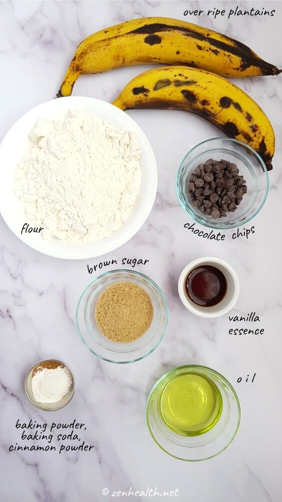 Plantain bread ingredients