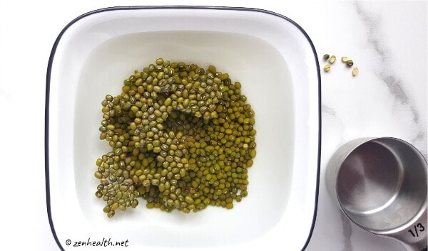 Floating mung beans in water
