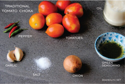 Ingredients for tomato choka